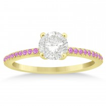 Pink Sapphire Accented Engagement Ring Setting 18k Yellow Gold 0.18ct