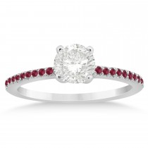 Ruby Accented Engagement Ring Setting 14k White Gold 0.18ct