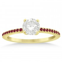 Ruby Accented Engagement Ring Setting 14k Yellow Gold 0.18ct