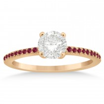 Ruby Accented Engagement Ring Setting 18k Rose Gold 0.18ct