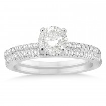 Diamond Accented Bridal Set Setting 14k White Gold (0.39ct)