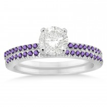 Amethyst Accented Bridal Set Setting 14k White Gold (0.39ct)
