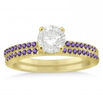 Amethyst Accented Bridal Set Setting 14k Yellow Gold 0.39ct