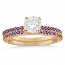 Amethyst Accented Bridal Set Setting 18k Rose Gold 0.39ct