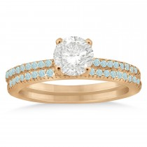Aquamarine Accented Bridal Set Setting 14k Rose Gold 0.39ct