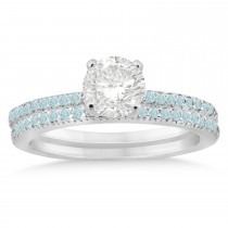 Aquamarine Accented Bridal Set Setting 14k White Gold 0.39ct
