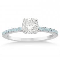 Aquamarine Accented Bridal Set 14k White Gold 0.39ct