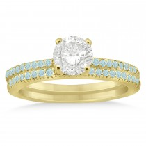 Aquamarine Accented Bridal Set Setting 14k Yellow Gold 0.39ct