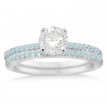 Aquamarine Accented Bridal Set 18k White Gold 0.39ct