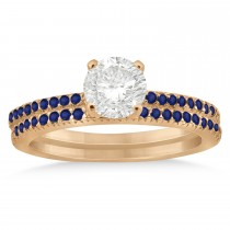 Blue Sapphire Accented Bridal Set 14k Rose Gold 0.39ct