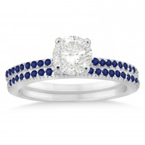 Blue Sapphire Accented Bridal Set Setting 14k White Gold 0.39ct