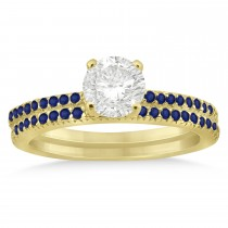 Blue Sapphire Accented Bridal Set Setting 14k Yellow Gold 0.39ct