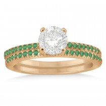 Emerald Accented Bridal Set Setting 14k Rose Gold 0.39ct