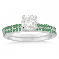 Emerald Accented Bridal Set Setting 14k White Gold 0.39ct