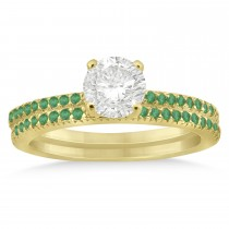 Emerald Accented Bridal Set Setting 14k Yellow Gold 0.39ct