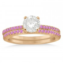 Pink Sapphire Accented Bridal Set Setting 18k Rose Gold 0.39ct