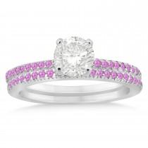 Pink Sapphire Accented Bridal Set Setting 18k White Gold 0.39ct
