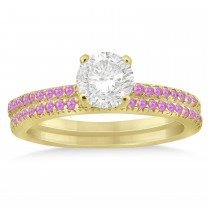 Pink Sapphire Accented Bridal Set Setting 18k Yellow Gold 0.39ct