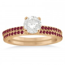 Ruby Accented Bridal Set Setting 14k Rose Gold 0.39ct