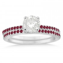 Ruby Accented Bridal Set Setting 14k White Gold 0.39ct