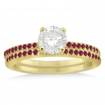 Ruby Accented Bridal Set Setting 14k Yellow Gold 0.39ct
