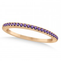 Amethyst Accented Wedding Band 14k Rose Gold 0.21ct