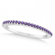 Amethyst Accented Wedding Band 14k White Gold 0.21ct