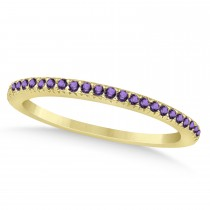 Amethyst Accented Wedding Band 14k Yellow Gold 0.21ct
