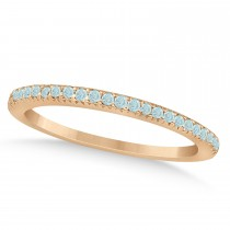 Aquamarine Accented Wedding Band 14k Rose Gold 0.21ct