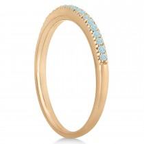 Aquamarine Accented Wedding Band 18k Rose Gold 0.21ct