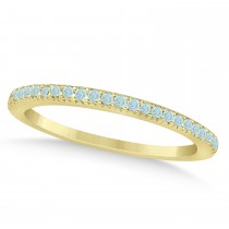 Aquamarine Accented Wedding Band 18k Yellow Gold 0.21ct