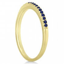 Blue Sapphire Accented Wedding Band 14k Yellow Gold 0.21ct|escape