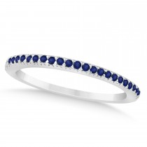 Blue Sapphire Accented Wedding Band 18k White Gold 0.21ct