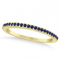 Blue Sapphire Accented Wedding Band 18k Yellow Gold 0.21ct