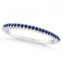 Blue Sapphire Accented Wedding Band Palladium 0.21ct