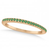 Emerald Accented Wedding Band 14k Rose Gold 0.21ct
