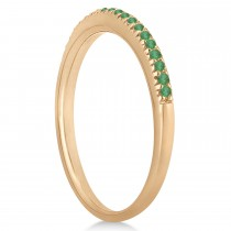 Emerald Accented Wedding Band 18k Rose Gold 0.21ct