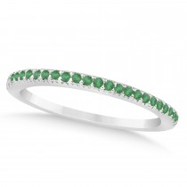 Emerald Accented Wedding Band 18k White Gold 0.21ct
