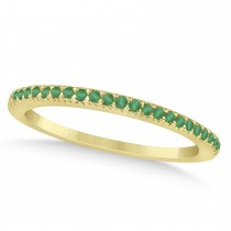 Emerald Accented Wedding Band 18k Yellow Gold 0.21ct