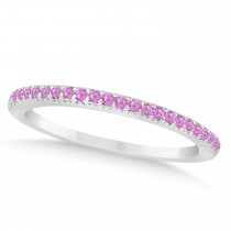 Pink Sapphire Accented Wedding Band 14k White Gold 0.21ct
