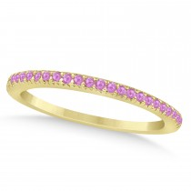 Pink Sapphire Accented Wedding Band 18k Yellow Gold 0.21ct
