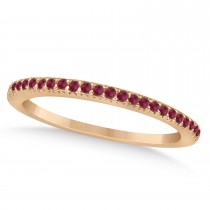 Ruby Accented Wedding Band 14k Rose Gold 0.21ct