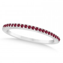 Ruby Accented Wedding Band 14k White Gold 0.21ct
