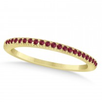 Ruby Accented Wedding Band 14k Yellow Gold 0.21ct