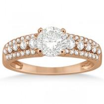Three-Row Prong-Set Diamond Engagement Ring 14k Rose Gold (0.37ct)
