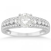 Three-Row Prong-Set Diamond Engagement Ring 18k White Gold (0.37ct)