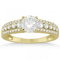 Three-Row Prong-Set Diamond Engagement Ring 18k Yellow Gold (0.37ct)