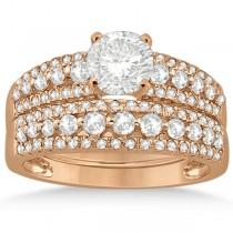 Three-Row Prong-Set Diamond Bridal Set in 14k Rose Gold (0.80ct)