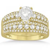 Three-Row Prong-Set Diamond Bridal Set in 18k Yellow Gold (0.80ct)