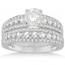 Three-Row Prong-Set Diamond Bridal Set in Palladium (0.80ct)